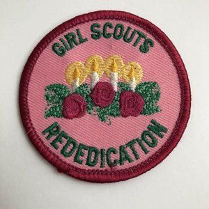 Girl Scouts Rededication Patch 1990s Pink with Can